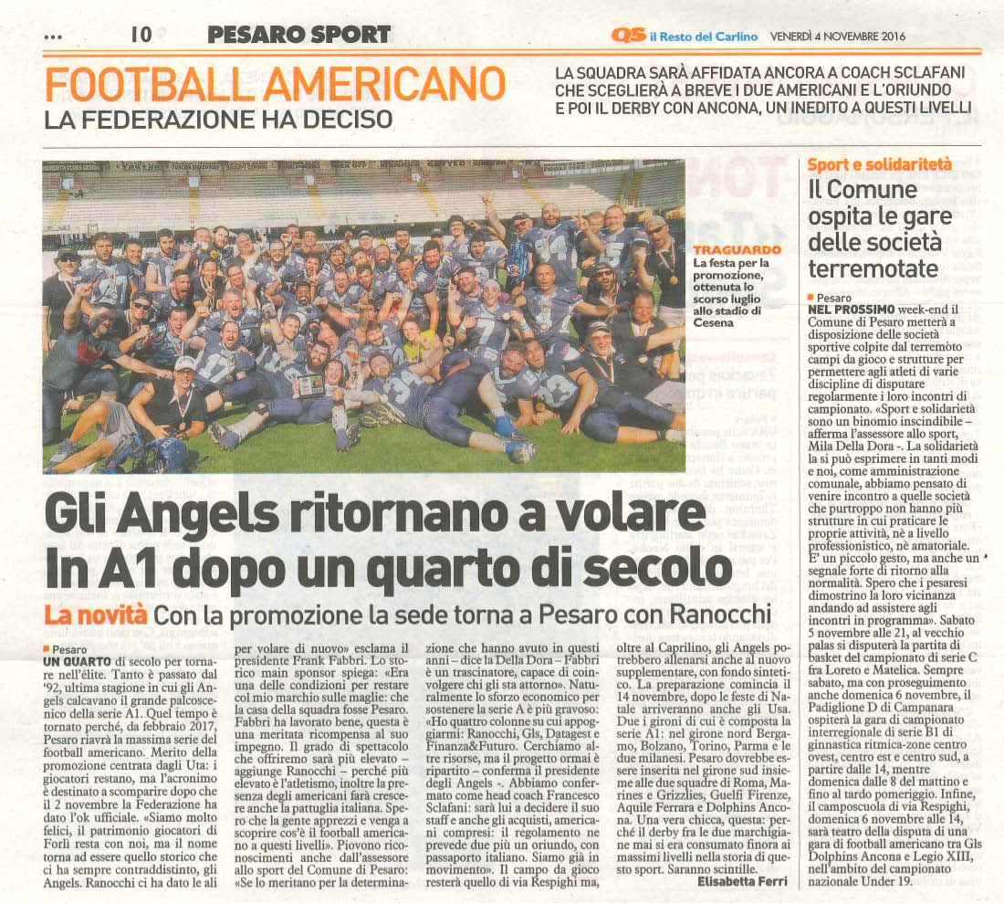 Angels Football Pesaro - dal Resto del Carlino